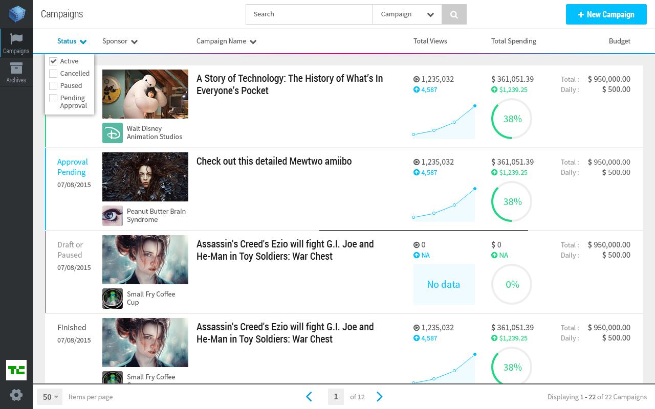 Reelcontent.com/videos  - Ad Platform Dashboard