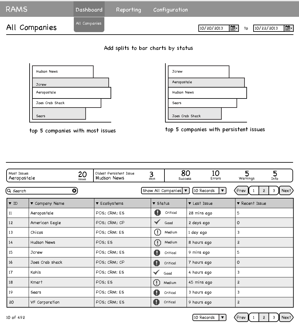 Epicor Crisis Management Dashboard - Customer List Wireframe